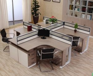 4 Seats L Shape Office Partition Cluster Staff Workstation (HX-NCD096) pictures & photos