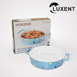 Top Quality Porcelain Round Colored Baking Tray with The Ears pictures & photos