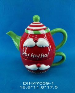 Hand-Painted Ceramic Teapot for Christmas Decoration pictures & photos