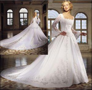 Long Sleeves Elegant Bridal Dress Gown C5131
