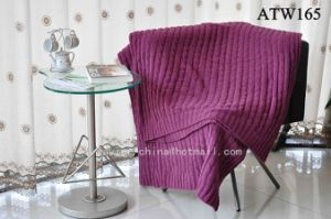 Knitted Chenille Throw Blanket/ Plait Plaid (ATW165)