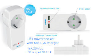 USB Power Socket, Scuko Type Socket with USB, USB Socket pictures & photos