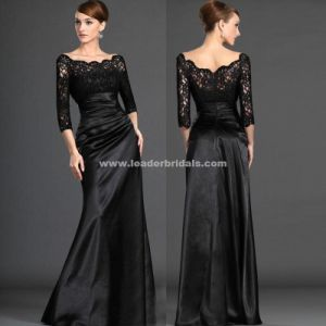 Black Taffeta Evening Dress 3/4 Long Sleeves Back Zipper Evening Gowns Yao1 pictures & photos