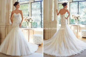 Sexy Strapless Lace Bead Applique Empire Mermaid Wedding Dress Yao98 pictures & photos