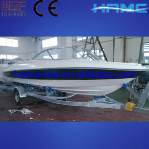 White and Blue Fiberglass Boat (HA630)