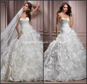White Sweetheart Taffeta Ball Gown Wedding Dress with Veils Yao83 pictures & photos