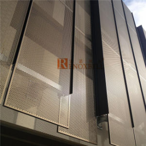 Golden Color Aluminum Facade Panel with Diagonal Perforation pictures & photos