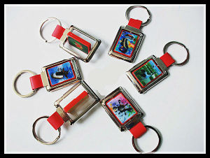 Wholesale Good Quality 3D Lenticular Rotating Metal Keychain pictures & photos
