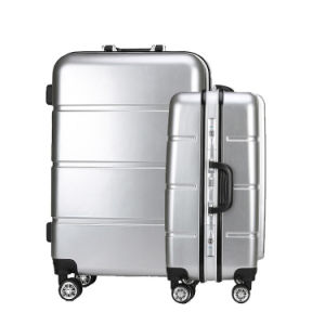 Aluminium Metal Suitcase Trolley Luggage with Striated Trunk pictures & photos