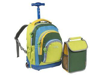 Kids Children Wheeled Trolley Lunch Student School Backpack Bag