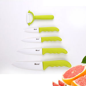 Yellow Handle Kitchen Zirconia Ceramic Carving Knife 5PCS Knife Set