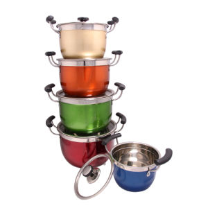 Colorful Stainless Steel Casserole with Glass Lid pictures & photos