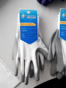 Polyester Shell Nitrile Coated Saftey Work Gloves (N2401) pictures & photos
