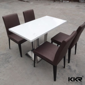 White Artificial Stone 4 Seats Restaurant Table and Chair pictures & photos