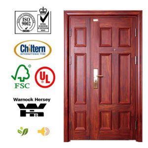 Mahogany Double Solid Entrance Wooden Door for Villa