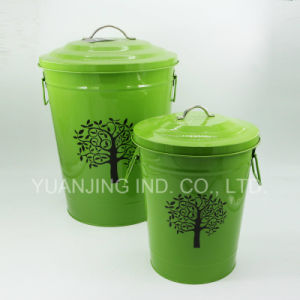 High Quality Galvanized Metal Colorful Wastebin Container with Decal