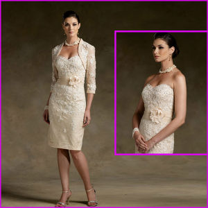 Champagne Mother of The Bride Groom Dress Lace Taffeta Sweetheart Jacket Short Evening Dress N130 pictures & photos