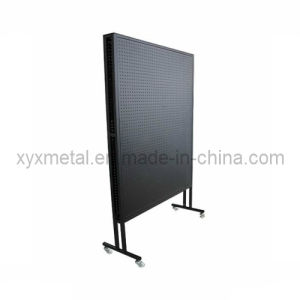 Rolling Double Sides Exhibition Metal Pegboard Display Stand Rack pictures & photos