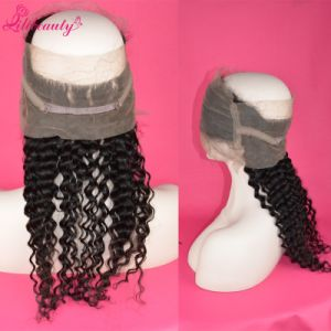8A Grade Indian Virgin Hair 360 Lace Frontals Deep Curly Hair pictures & photos