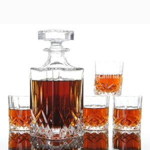 Fashion Square Liquor/Wine/Spirit/ Glass Bottles with Glass Lid pictures & photos