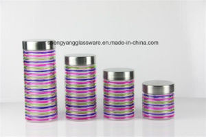 4 PC Spray Colors Glass Storage Jar Set/ Food Jar with Metal Lid Factory Direct Sale pictures & photos