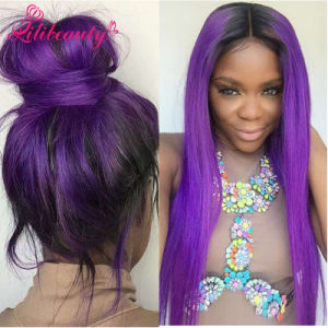 7A Human Chinese Hair Body Wave Frontal Lace Wigs Purple pictures & photos