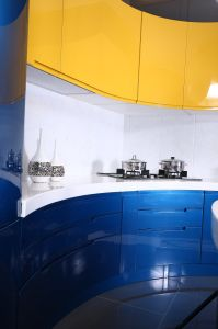 Morden Design High Gloss Blue Painted Kitchen Cupboard pictures & photos