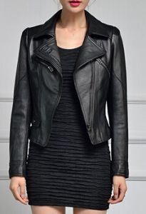 Women′s Sexy Boyfriend Style Cool Leather Turn Collar Biker Jacket pictures & photos