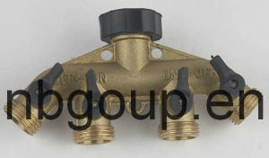 Brass 4 Way Hose Connector with Valve (GU608)