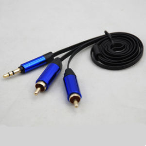 Aux Cable Car Audio Cable 3.5mm Stereo to 2RCA Flat Cable pictures & photos