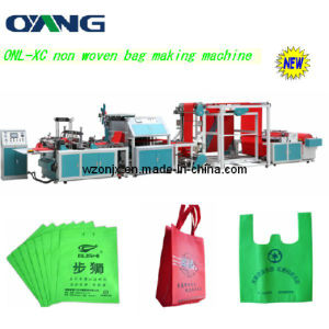 Full Automatic Non Woven Fabric T-Shirt Bag Making Machine with Handle Attach pictures & photos