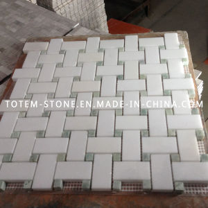 carrara white marble stone mosaic floor tile for bathroom