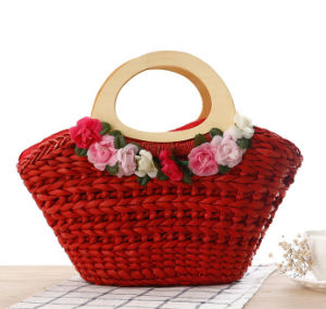 Handmade Simple Fashion Paper Straw Beach Tote Bag /Straw Basket Bag pictures & photos