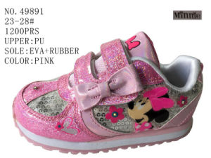 Pink Color PU Children Sport Shoes pictures & photos