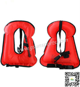 Children Portable Inflatable Canvas Life Jacket Snorkel Vest pictures & photos