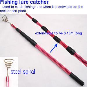 Fishing Lure Retriever with Telescopic Aluminum Handle and Steel Spiral