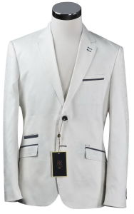 White Casual Cotton Men′s Suits