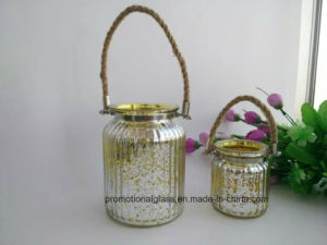Gold Hanging Glass Candle Holder with Handle pictures & photos