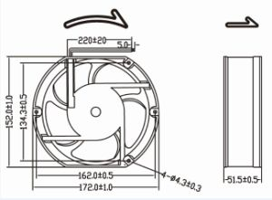 172mm 172X151X51.5mm 110V 220V AC Cooling Fan for Wood Machine pictures & photos