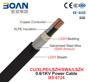 Cu/XLPE/Lszh/Swa/Lszh, Power Cable, 0.6/1 Kv (BS 6724) pictures & photos
