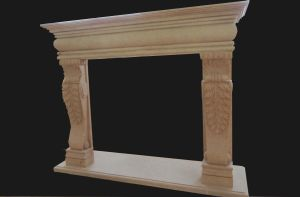 Beige Marble Simple Fireplace (FRP502) pictures & photos