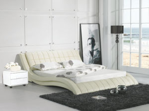 Cream Color Leather Bed, Modern Bedroom Furniture (9111) pictures & photos