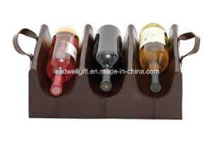 Stunning Wood Real Leather Wine Bottle Holder Display Rack pictures & photos