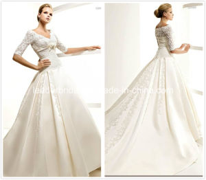 V-Neck 3/4 Sleeves Lace Satin Ivory Bridal Wedding Dress W52223 pictures & photos
