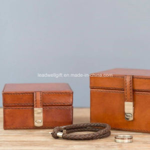 Chrome Clasp Leather Jewelry Watch Box Storage Case pictures & photos