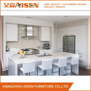 Flat Pack Modern Design White Lacquer Kitchen Cabinet with Island pictures & photos