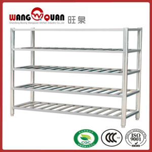 Commercial Kitchen Round Tube 5 Tier Stainless Steel Slatted Shelf (long type) pictures & photos