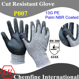 13G PE Knitted Glove with NBR Coated Palm/ En388: 454X pictures & photos