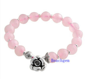 Natural Rose Quartz Beads Bracelet with Silver Charm (BRG0015) pictures & photos