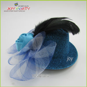 fashion Turq. Lady Hat with Feather and Flower pictures & photos
